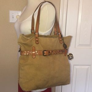 Lucky Brand canvas tan large tote bag
